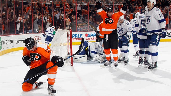 Shayne Gostisbehere had a pair of goals to break a team record and help the Flyers bust Tampa's win streak.