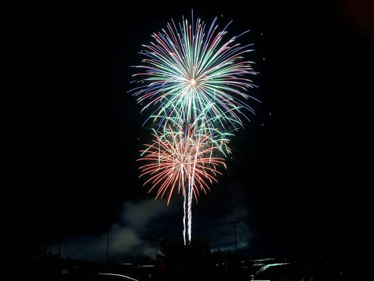 Fireworks light up the skies of Salisbury during the
