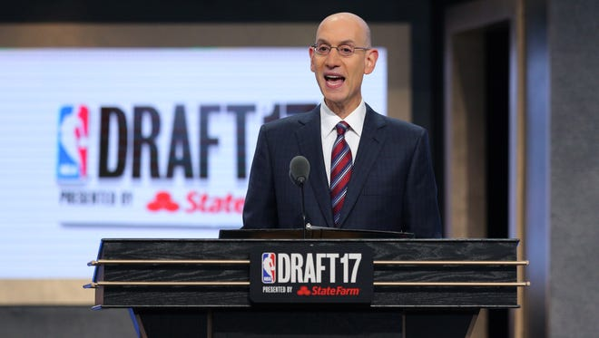 NBA commissioner Adam Silver speaks before the first round of the 2017 NBA Draft at Barclays Center.