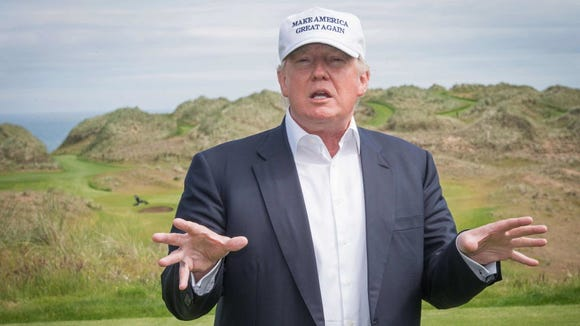 Donald Trump at one of his favorite places -- a golf