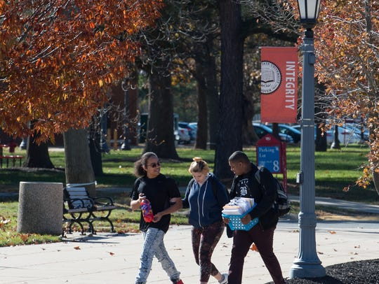 Students walking on campus at Delaware State University in Dover. DSU has increased its enrollment for the sixth time in eight years.
