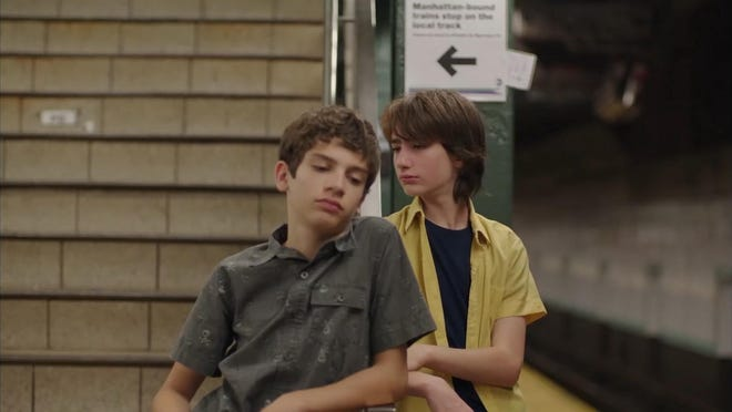 """Michael Barbieri, left, and Theo Taplitz star in """"Little Men."""" This touching tale of camaraderie is an affectionate, richly detailed, character-driven drama about two Brooklyn families reluctantly at odds with one another."""