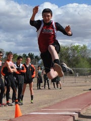 Jaime Morales competes in the long jump at the Rose Relays.