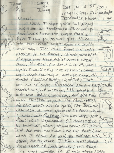 A letter from Tammy Jo to her high school friend, Laurel