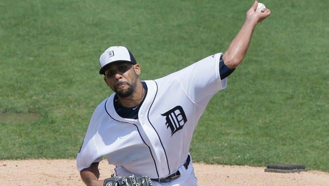 Detroit Tigers starting pitcher David Price throws against the New York Mets in Lakeland, Fla., on Saturday, March 21, 2015.