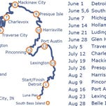The route and corresponding dates for the Paddle Relay around Lower Michigan, beginning June 1 at Belle Isle.