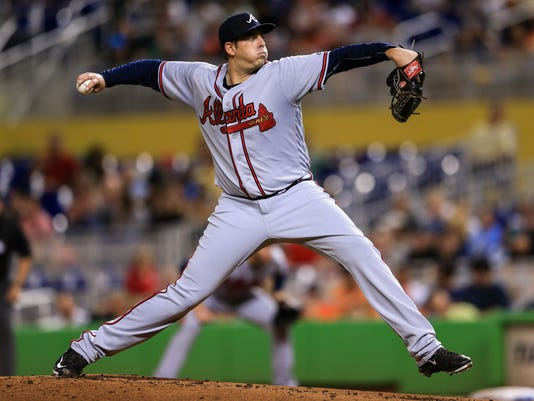 Atlanta Braves starting pitcher Aaron Blair pitches during the first inning of a baseball game against the Miami Marlins on Saturday, Sept  24, 2016, in Miami. (AP Photo/Rob Foldy)