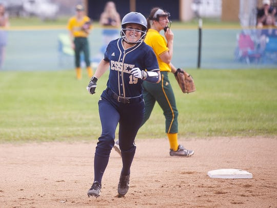 Essex's Sarah Knickerbocker rounds second base after cracking a two-run home run against BFA-St. Albans in the 2017 Division I softball semifinals.