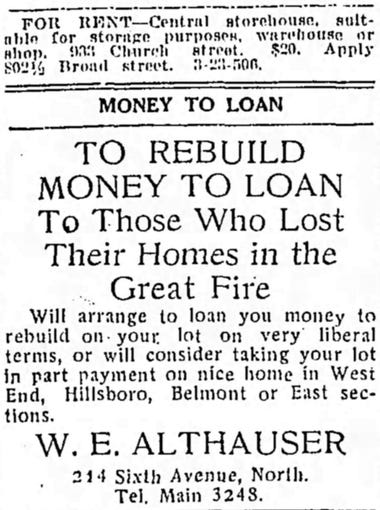The East Nashville fire of 1916 destroyed davenports and deeds, homes and housewares, and in its wake businesses seized on the opportunity. They offered condolences while also marketing their products in an attempt to win new customers.