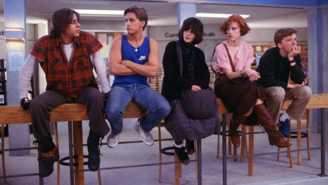 "Judd Nelson (from left), Emilio Estevez, Ally Sheedy, Molly Ringwald and Anthony Michael Hall made high school relatable in ""The Breakfast Club."""