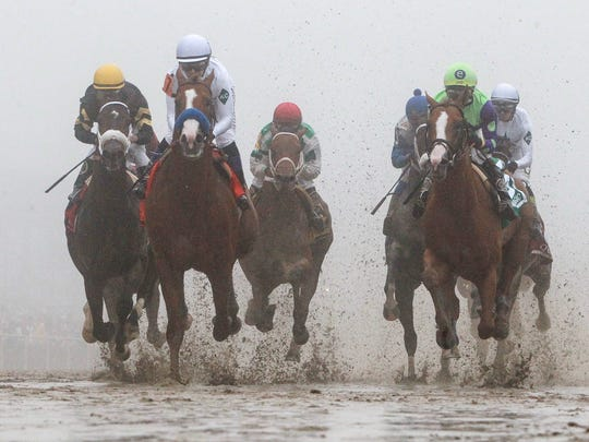 The Preakness field makes its first pass by the finish line.  Justify, second from left, with Mike Smith aboard, holds on to win the Preakness Stakes and the second leg of the Triple Crown.