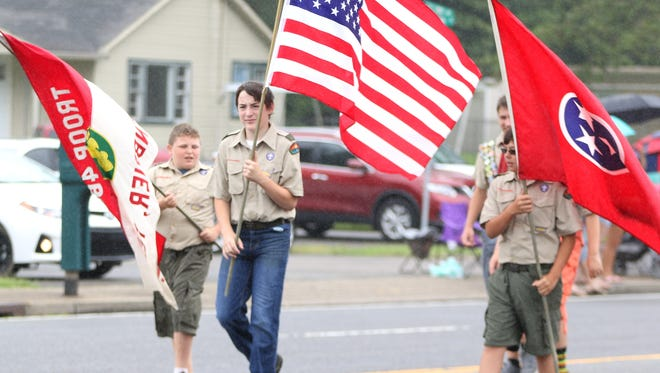Boy scouts marched in the parade.