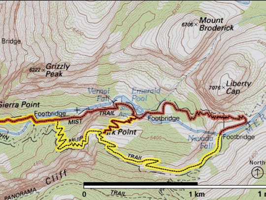 Vernal Fall and Nevada Fall trail map.