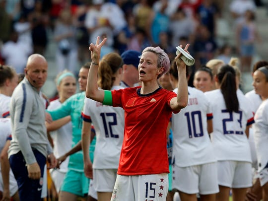 United States'Megan Rapinoe celebrates at the end of the Women's World Cup round of 16 soccer match between Spain and US at the Stade Auguste-Delaune in Reims, France, Monday, June 24, 2019. US beat Spain 2-1. (AP Photo/Alessandra Tarantino)