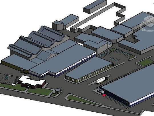 Conceptual view of planned plastics reprocessing facility off 200 G Street.