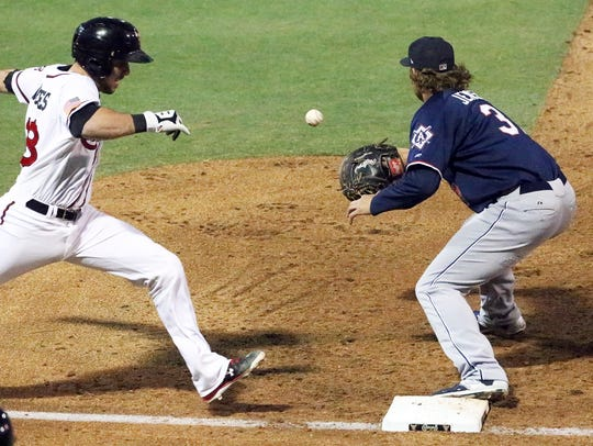 El Paso Chihuahuas catcher Austin Hedges steams to