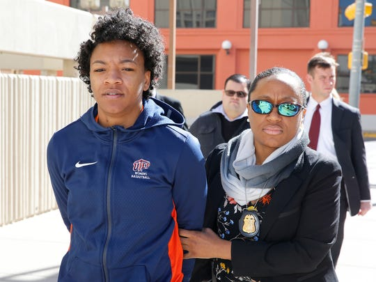 Former UTEP basketball player Jenzel Nash, 23, was one of seven people indicted by a federal grand jury in connection with a $237,000 bank fraud scheme. Nash is shown being led into the El Paso County Jail in January 2017.