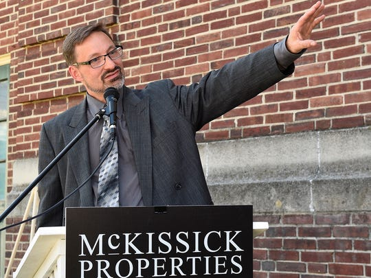 Vern McKissick III, of McKissick Properties, LLC, speaks during  groundbreaking ceremony for the Rose Rent Lofts project on Friday, June 9, 2017. The project will convert the former Central Junior High School into high-end lofts and apartments.