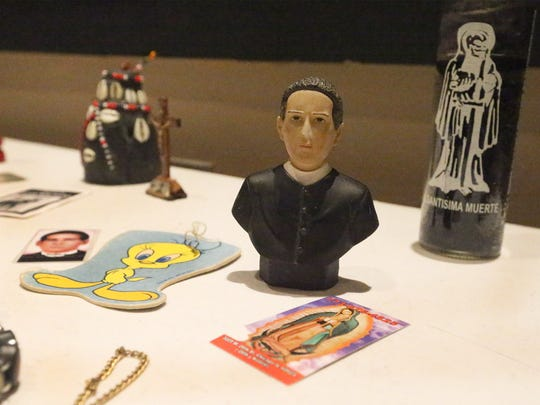 Various figures, some religious, used by drug cartels, gangs and immigrant smugglers for protection and good luck.