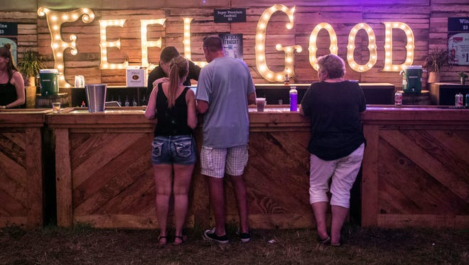 The message behind the bar in the Bourbon & Beyond VIP tent reminded guests to feel good. 9/23/17