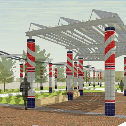 An installation of ceramic-clad columns, with stripes