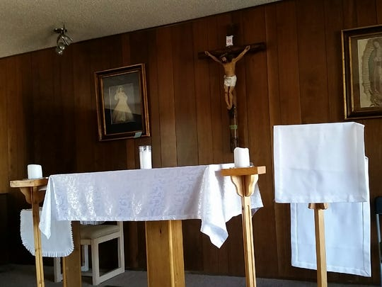 A small chapel in Our Lady of Guadalupe Prayer Center was seen Tuesday during an estate sale at the property, 5480 Lassiter Road, south of Las Cruces. The center, which moved to the location in 2001, is closing Thursday.