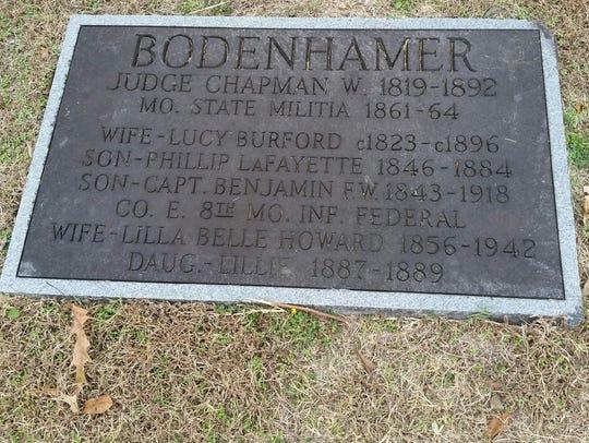 The Bodenhamer Family marker at the Mountain Home Cemetery.