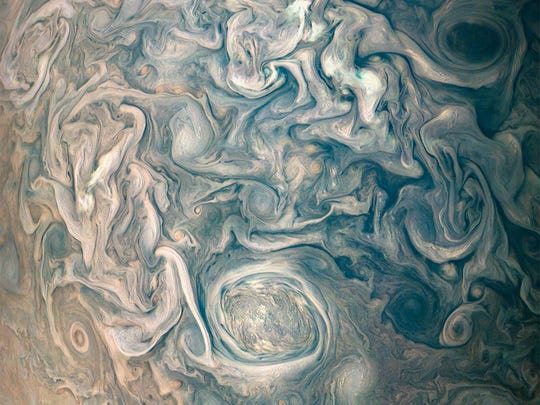 "An image captured by NASA's Juno satellite shows swirling cloud formations on Jupiter on May 23, 2018. ""width ="" 540 ""data-mycapture-src ="" ""data-mycapture-sm-src ="""
