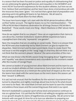 Dawn Staley eviscerated NCAA head Mark Emmert and the NCAA over the disparity in treatment between the men and women players in the NCAA Tournament.