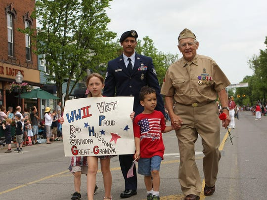 Lewis Bradbury of Milford, 91, walked the route with grandchildren and great grandchildren during last year's Milford Memorial Day Parade.