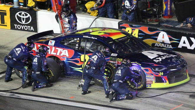 William Byron's No. 24 car during a pit stop Thursday during the first of two qualifying races for the Daytona 500.