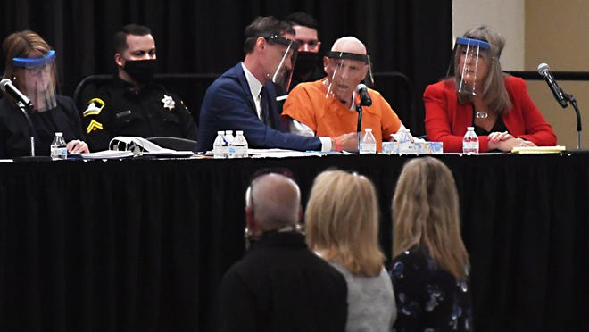 Joesph DeAngelo appears during a hearing in June in which he pleaded guilty to 13 counts of murder and 13 counts of kidnapping with robbery in the notorious Golden State Killer attacks that terrorized communities up and down the state.