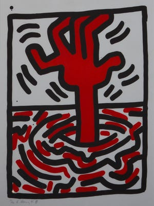 """Keith Haring, """"Ludo 5,"""" is expected to auction for $4,000-$6,000. Known for his graffiti-inspired drawings, Haring began in subway stations and later exhibited in museums to worldwide acclaim."""