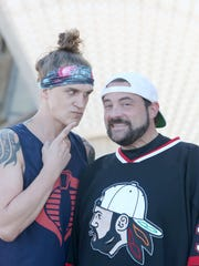 Kevin Smith and Jason Mewes during a media call at