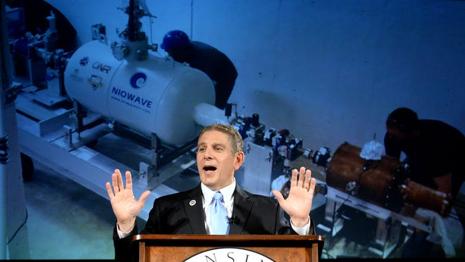 Lansing Mayor Virg Bernero gives his 11th State of the City Address on Tuesday at Niowave Radioisotope Production Facility near the Capital Region International Airport.