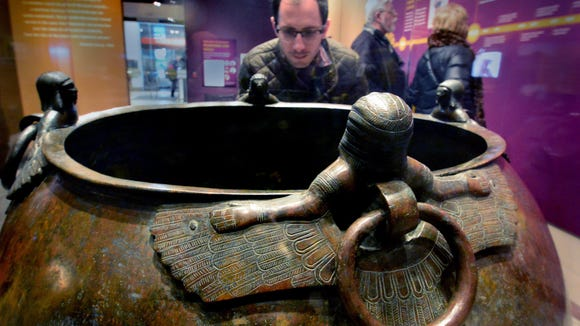 This large caldron was probably built by King Midas for his father Gideos for the funeral feast. The demon figures were designed to protect him.