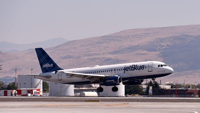 The First Jet Blue flight from Long Beach arrives at the Reno Tahoe International Airport on Monday August 15, 2016.