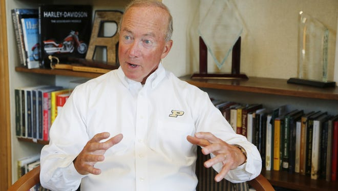 President Mitch Daniels on August 9, 2016, in his office in Hovde Hall.