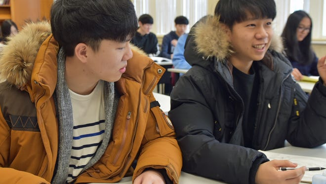 Students Joseph Ahn, left, and Luke Han chat during a break in their class at  Global Vision Christian School on Thursday, February 9, 2017 at Scotland Campus.