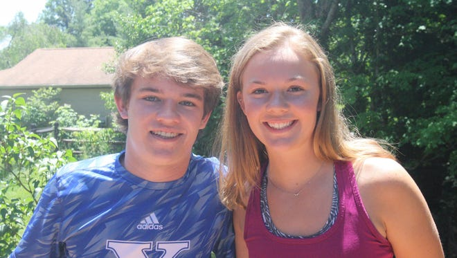 Henry and his younger sister Maggie Huber have bonded through volleyball over the years. Henry, a senior who just graduated from St. Xavier, played libero in high school for the Bombers. Maggie, a junior, plays libero and helped win a state championship at Ursuline last fall.