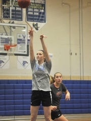 Stephen Decatur's Lexie VanKirk takes a jumper as the hoops team held practice after the Bayside Championshio was postponed.