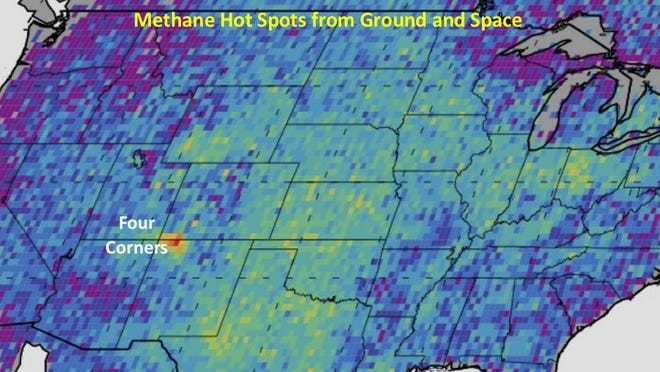 A map provided by Manvendra Dubey, senior scientist at Los Alamos Laboratory, shows methane gas hot spots across the United States.
