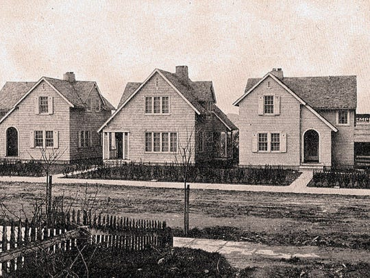 A row of new homes, built in 1918 by the U.S. Housing
