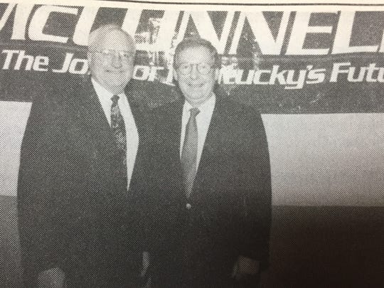 """Sturgis farmer Billy Bob Sprague, left, met with U.S. Senator Mitch McConnell in Louisville in January 1996 as part of the """"Farmers for McConnell"""" endorsement for the senator. The group was made up of farmers through-out Kentucky who backed McConnell's re-election bid."""