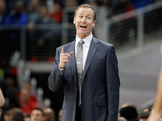 Portland Trail Blazers head coach Terry Stotts reacts to a call in the second half of an NBA basketball game against the Atlanta Hawks, Saturday, Dec. 30, 2017, in Atlanta. The Hawks won 104-89. (AP Photo/Brett Davis)