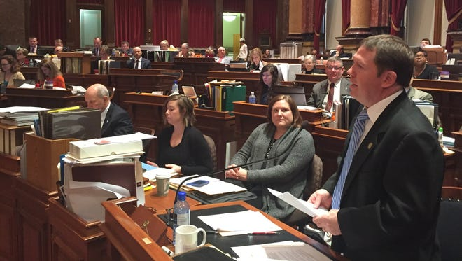 Sen. Tod Bowman, D-Maquoketa, floor manager of the education spending bills, speaks in the Iowa Senate chamber Wednesday, March 23, 2016.