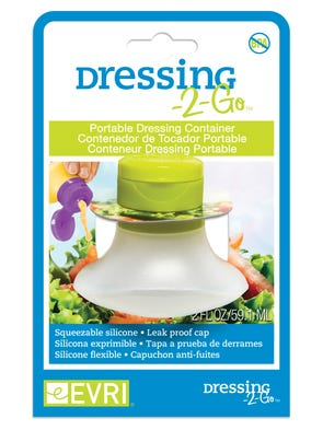 This image provided by Evriholder Products shows Dressing-2-Go. These tiny silicone squeeze bottles each one hold 2 ounces, perfect for salad dressings, ketchup, sour cream or anything else you might need to squeeze or squirt over a lunch.