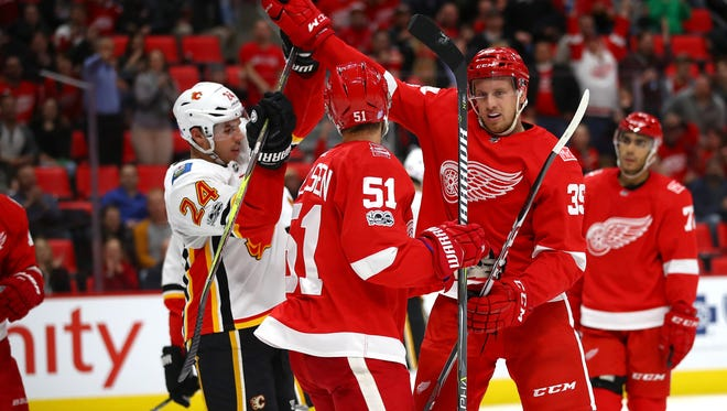Wings forward Anthony Mantha had three points — and a Gordie Howe hat trick — against Calgary on Wednesday night at Little Caesars Arena.