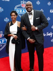 Laremy Tunsil on the red carpet before the 2016 NFL Draft at Auditorium Theatre.