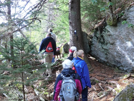 Hikers on the Mount Mitchell Trail that leads from